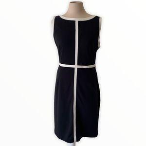 Calvin Klein black and white sheath dress